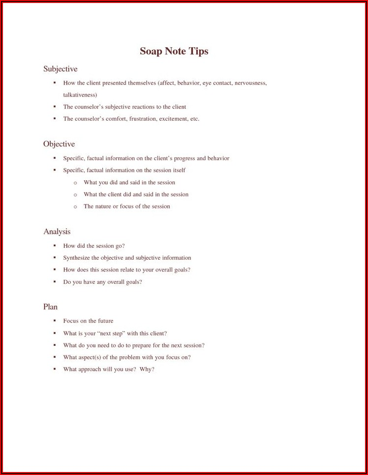 Soap Note Template For Counseling