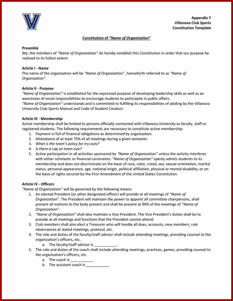 Social Club Constitution Template