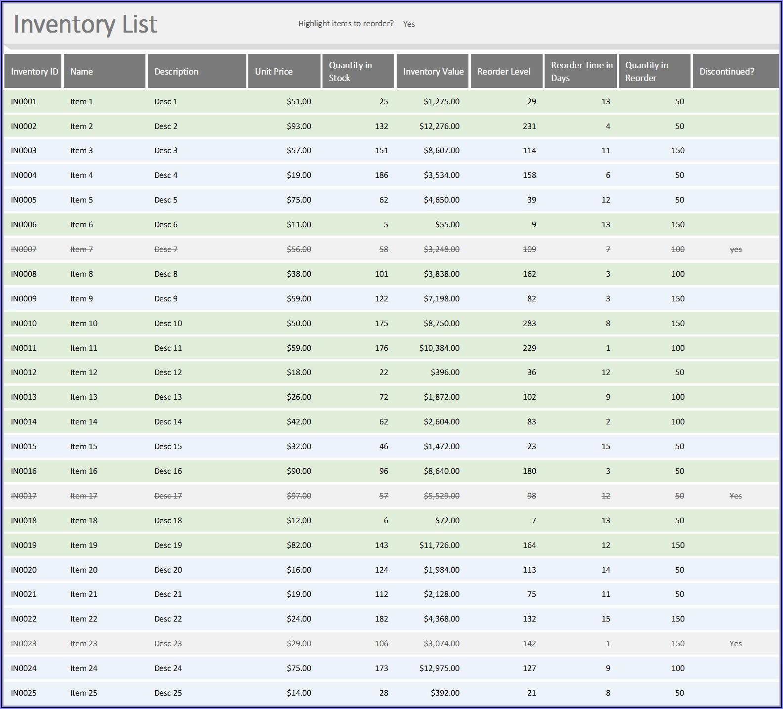 Stock Spreadsheet Template Excel