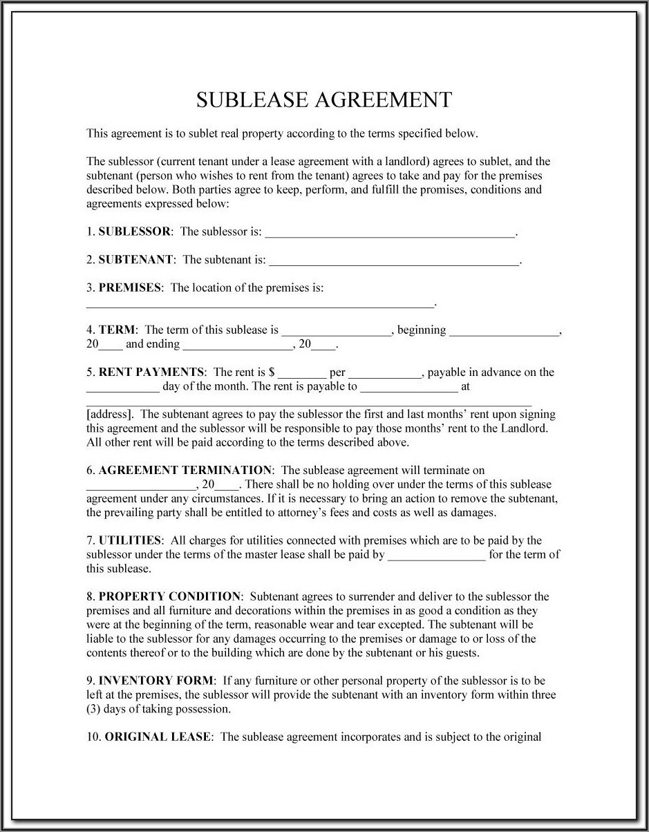Sublet Agreement Template Uk