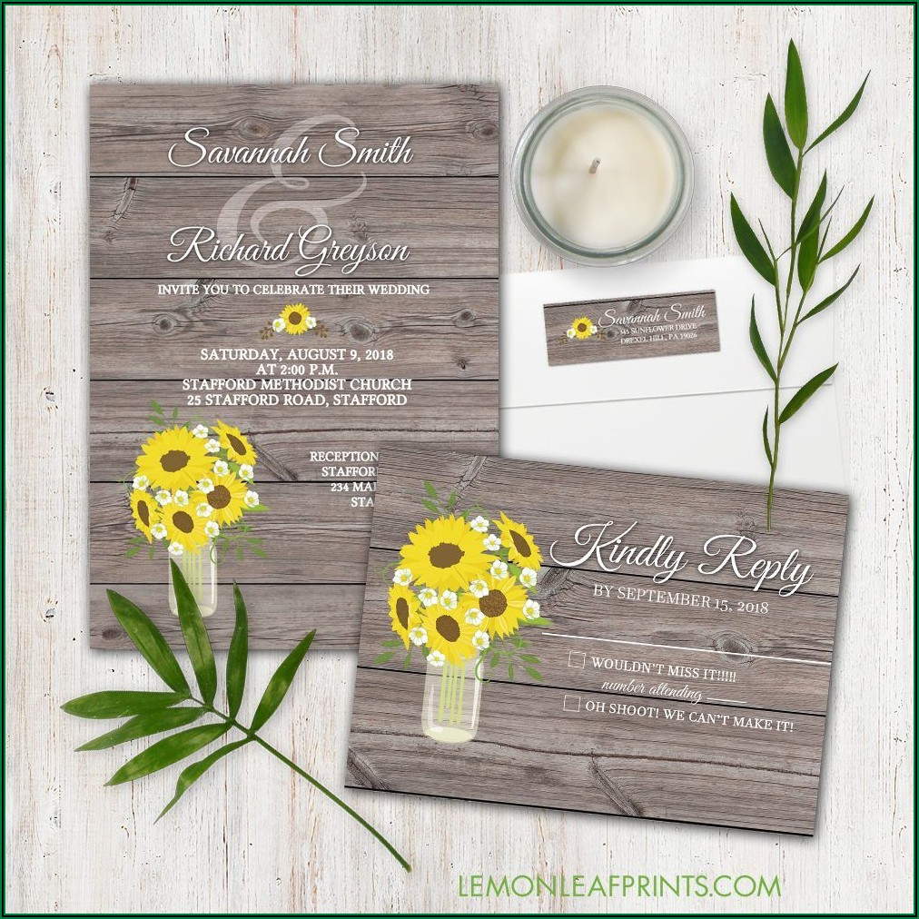 Sunflower Mason Jar Wedding Invitations