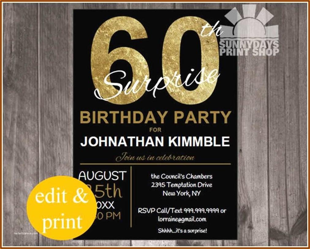 Surprise 60th Birthday Invitation Wording