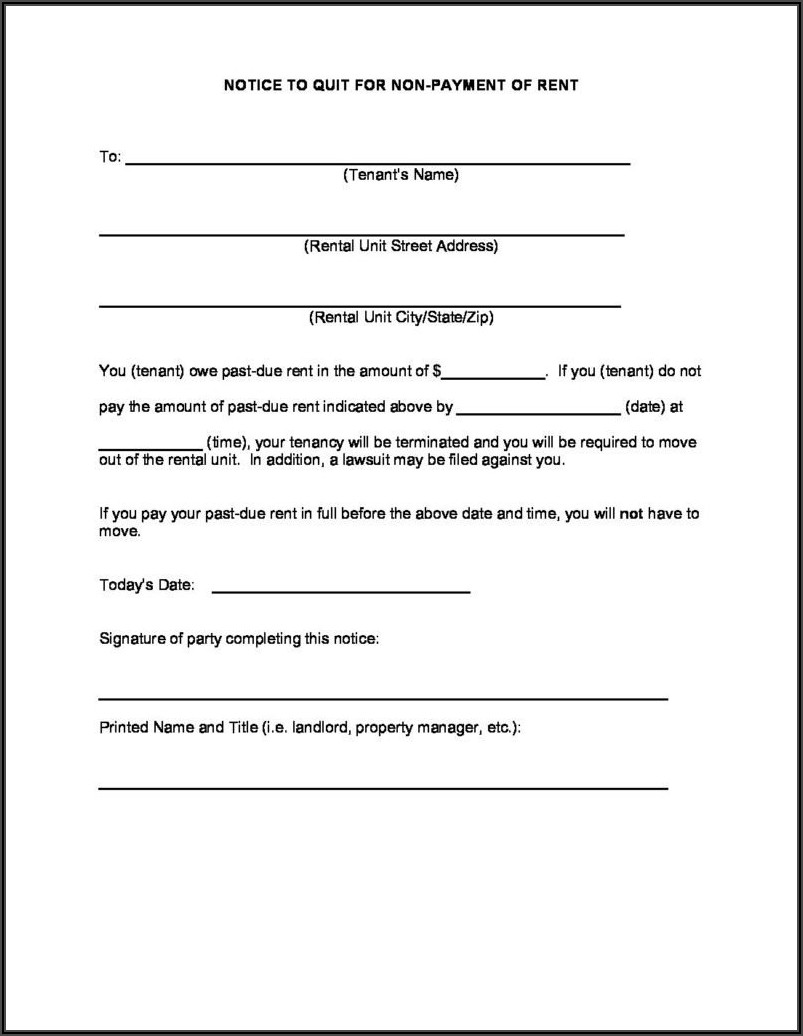 Template For 30 Day Eviction Notice