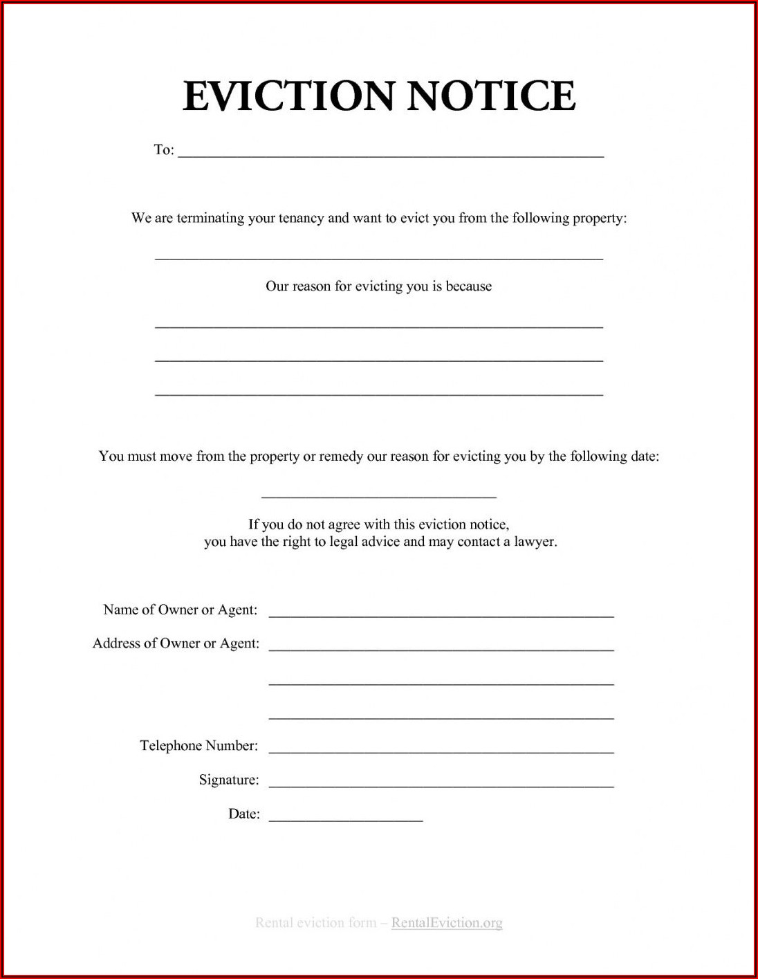Template For Eviction Notice Uk
