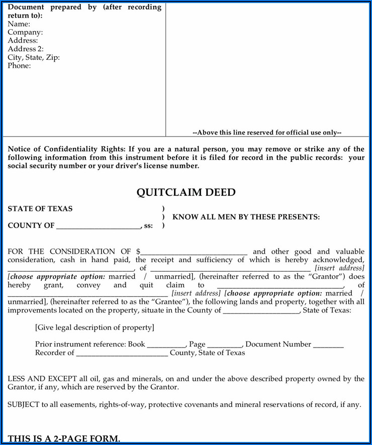 Texas Mineral Deed Form Free