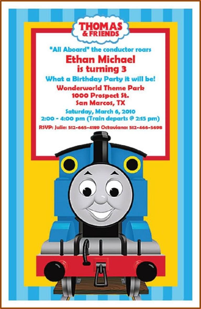 Thomas The Train Birthday Invitations With Photo
