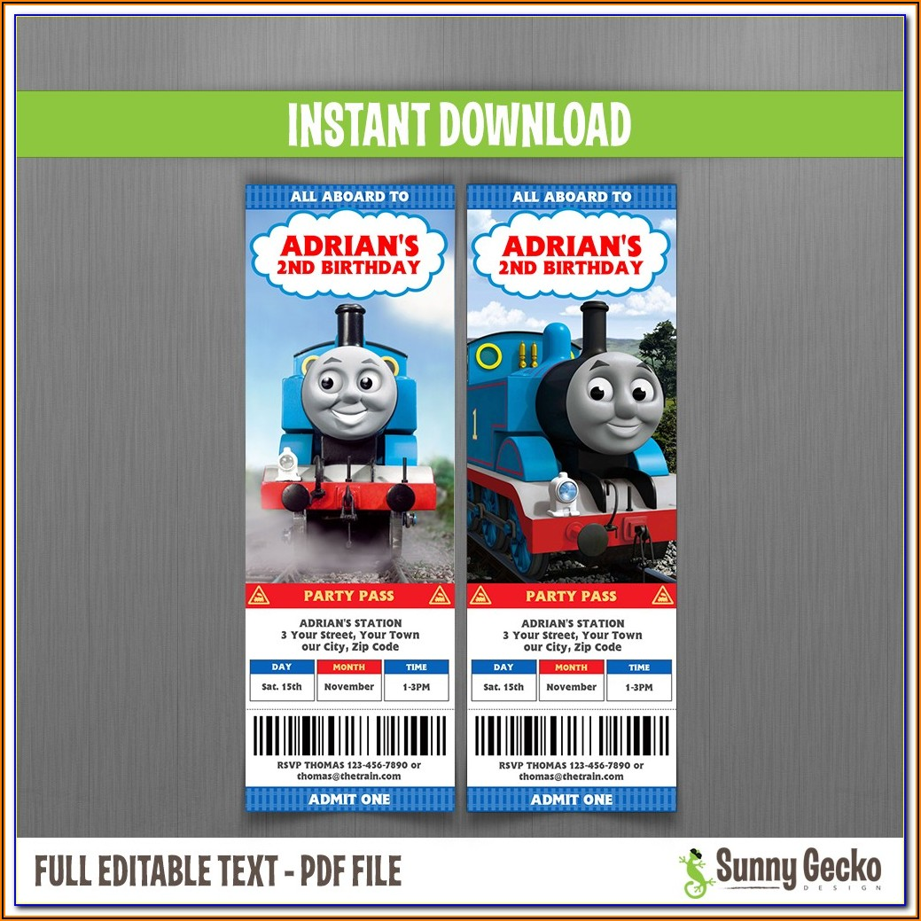 Thomas The Train Blank Invitation Template