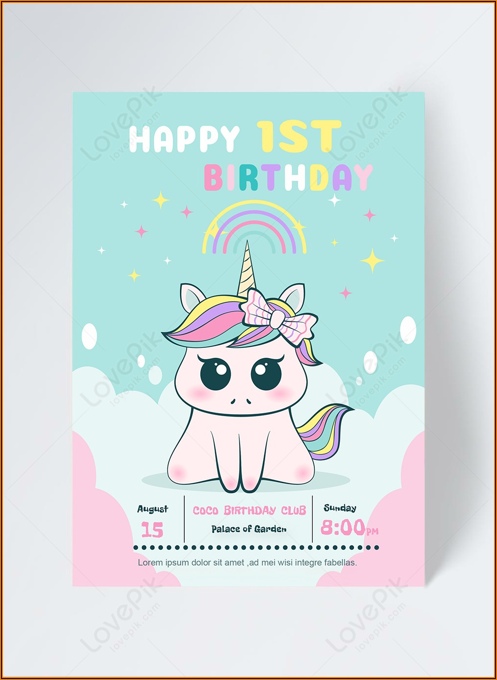 Unicorn Birthday Invitation Card Free Download