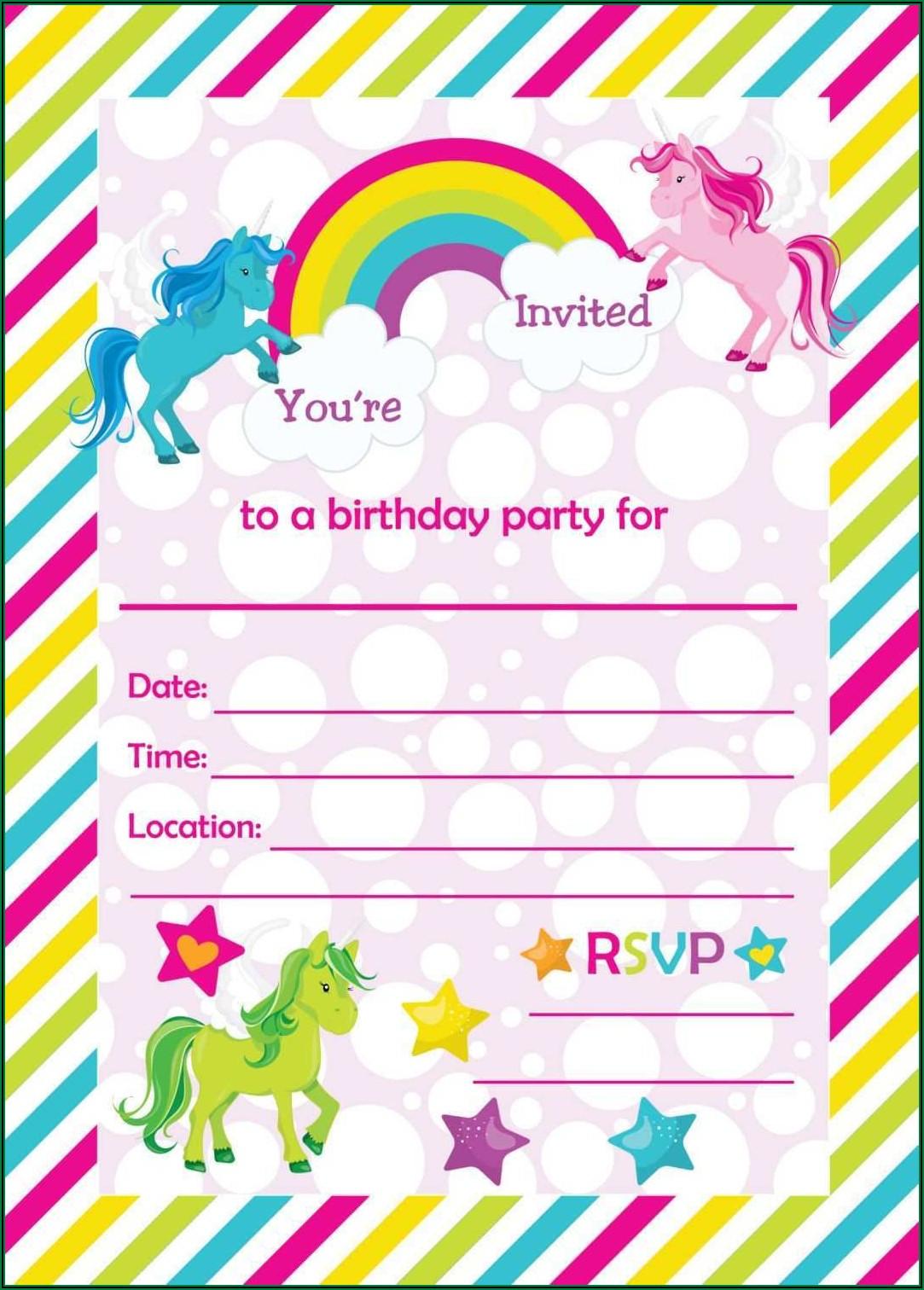 Unicorn Invitation Card Free Template