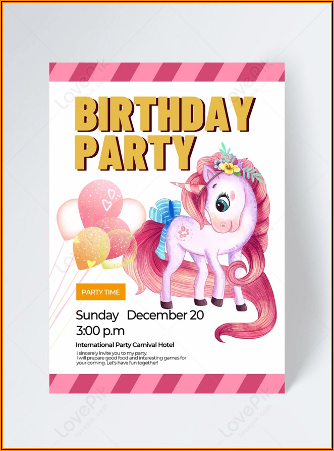 Unicorn Party Invitation Free Download