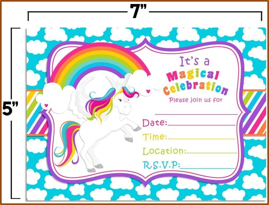Unicorn Rainbow Birthday Invitations