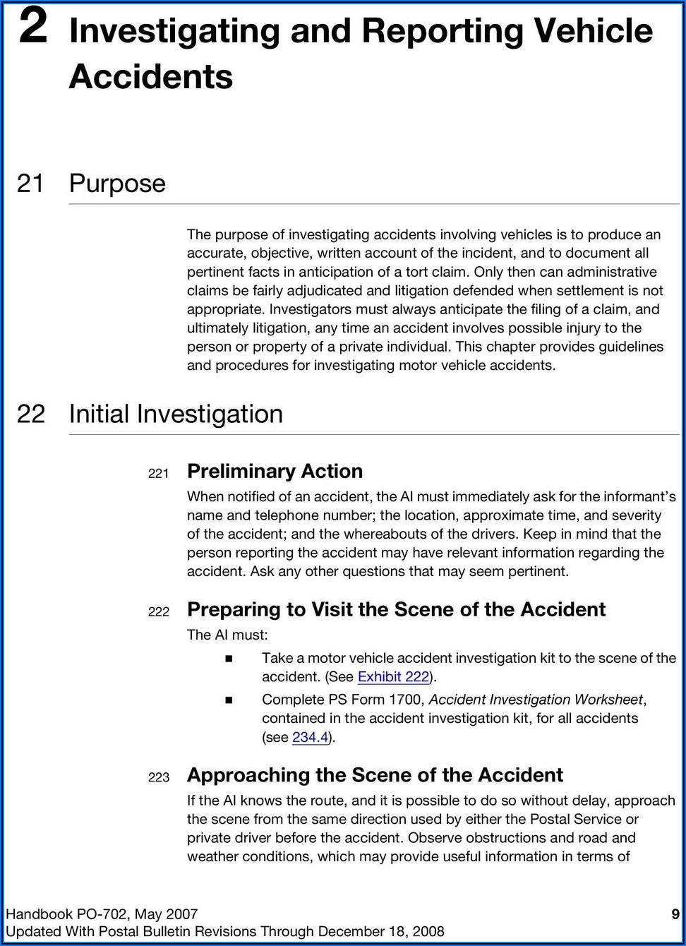 Usps Auto Accident Claim Form