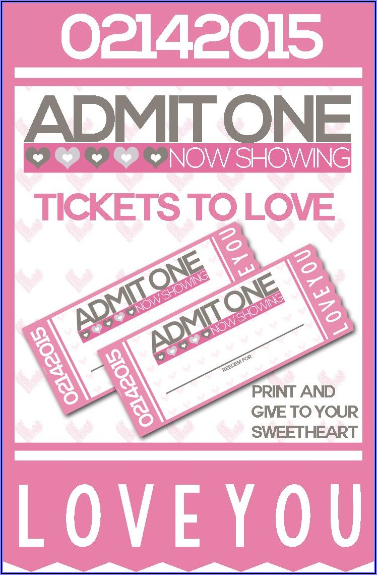 Valentine's Day Dinner Ticket Template Free