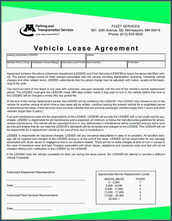 Vehicle Rental Agreement Template Free