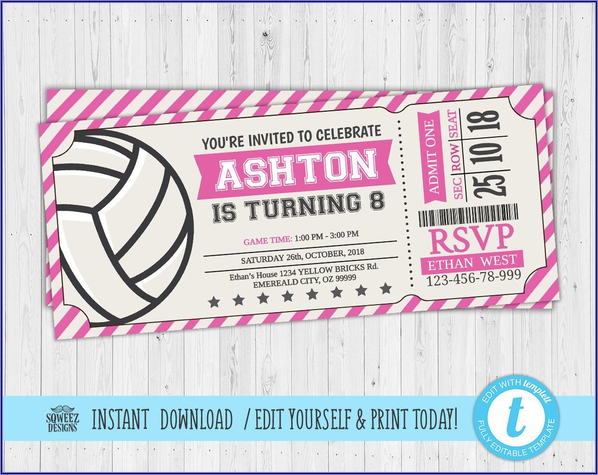 Volleyball Party Invitation Template