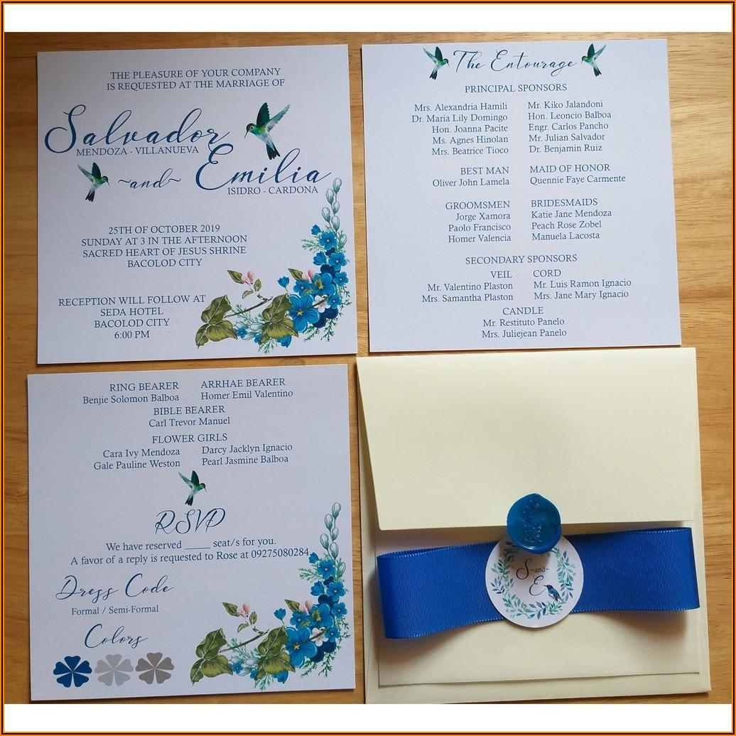 Wedding Invitation Sample Design Royal Blue