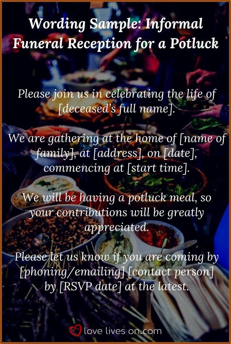 Wedding Potluck Invitation Wording