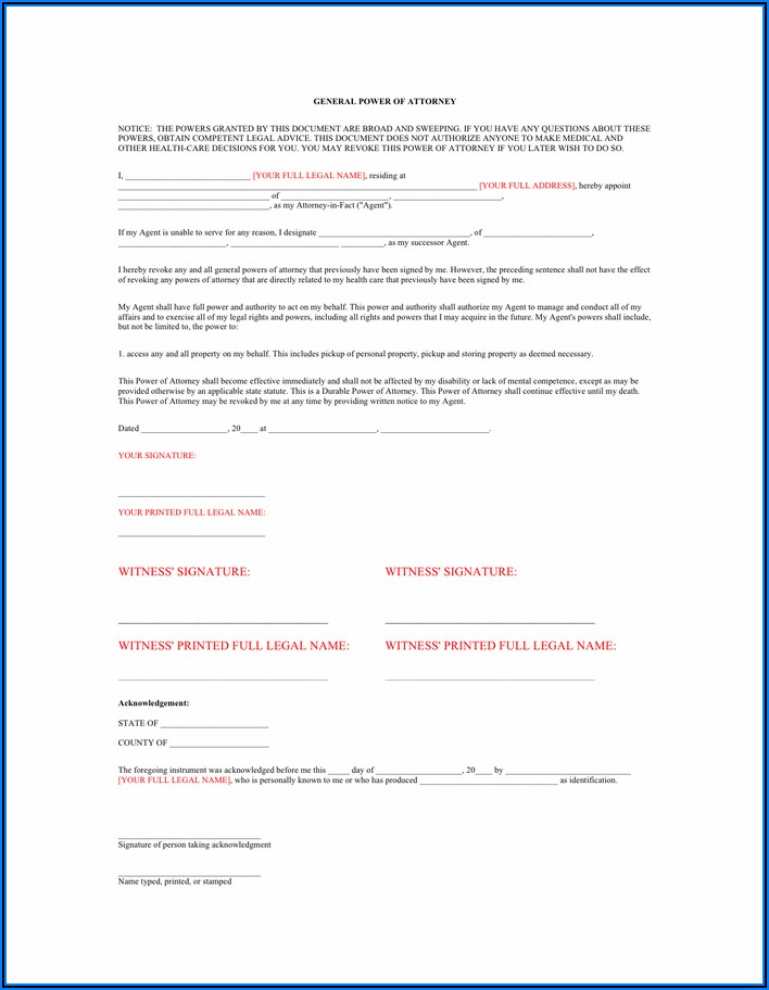 Where Can I Pick Up A Durable Power Of Attorney Form