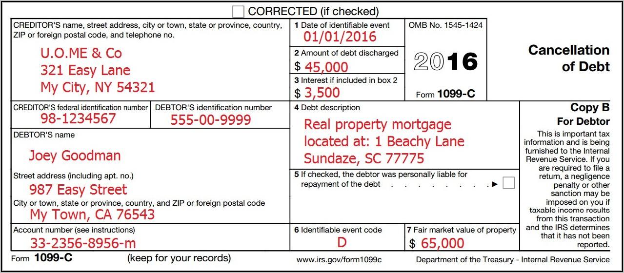 1099 Debt Forgiveness Form
