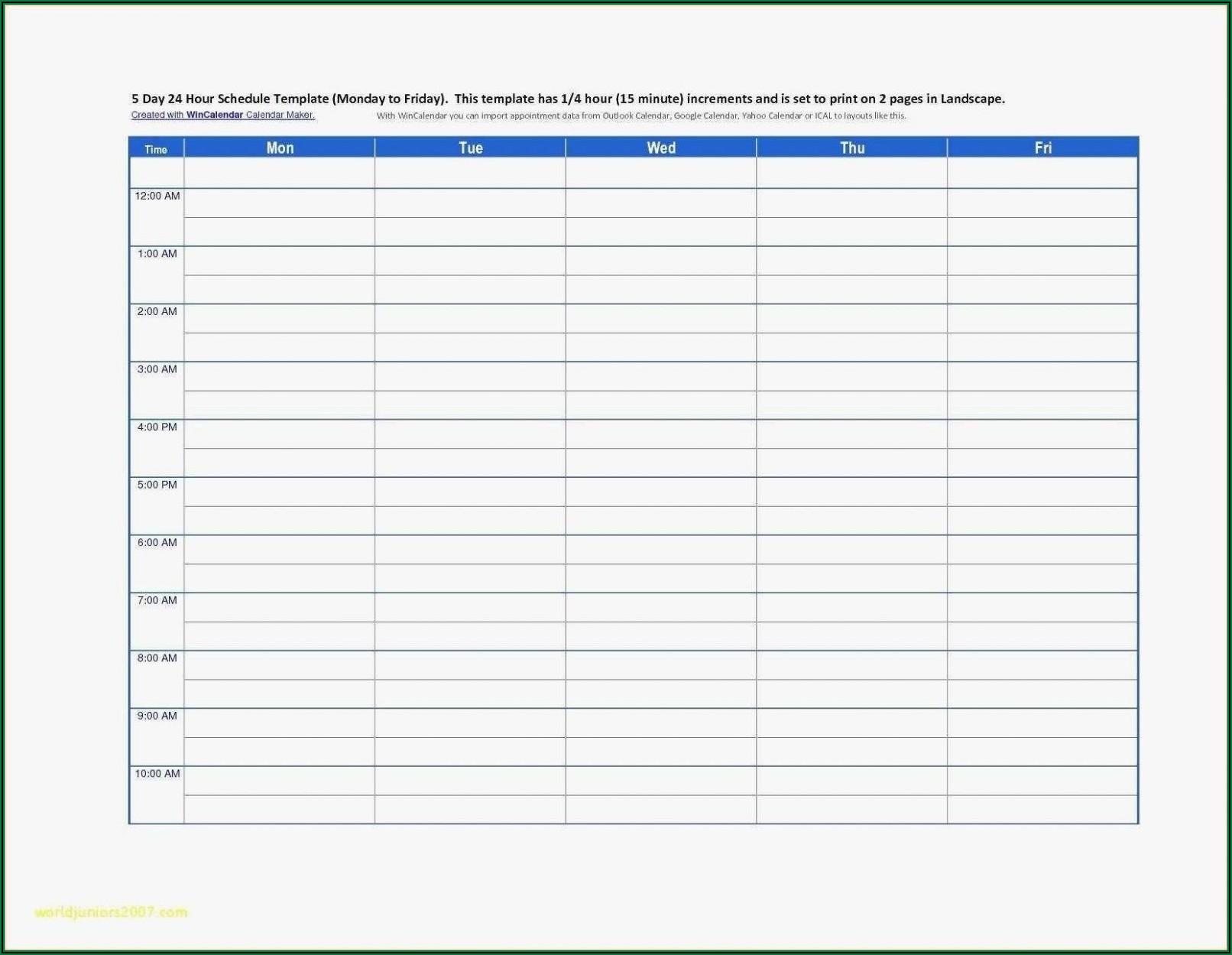 24 Hour Gantt Chart Excel Template