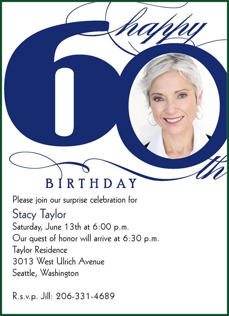 60th Birthday Email Invitation Templates
