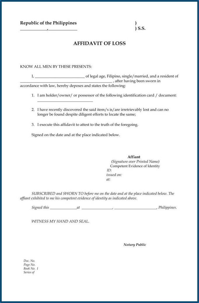 Affidavit Sample South Africa