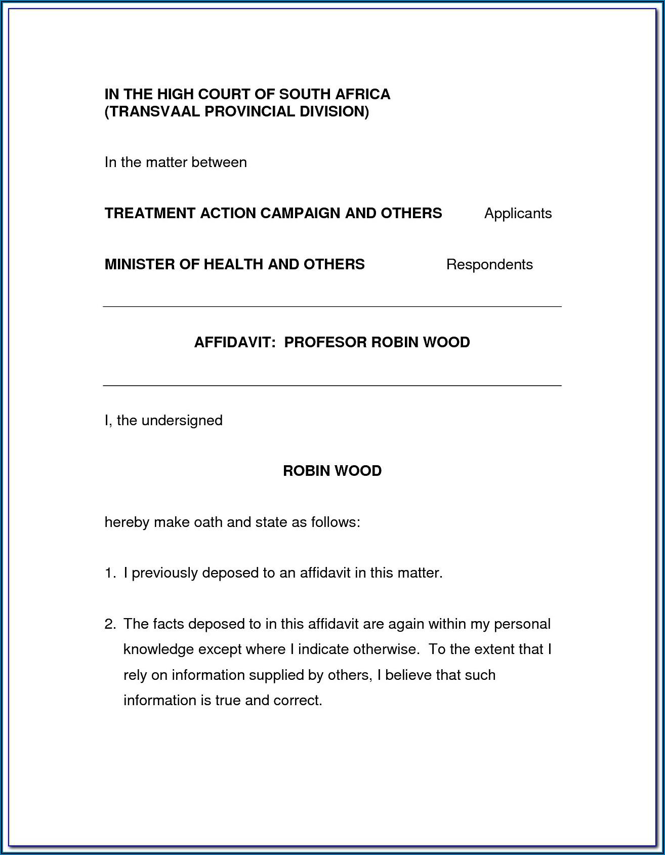 Affidavit Template South Africa Doc
