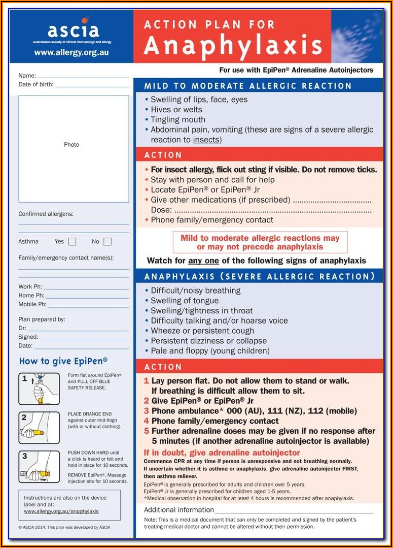Anaphylaxis Emergency Action Plan Form