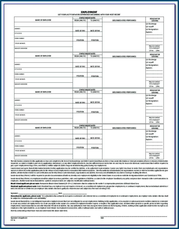 Application Form For Aldi