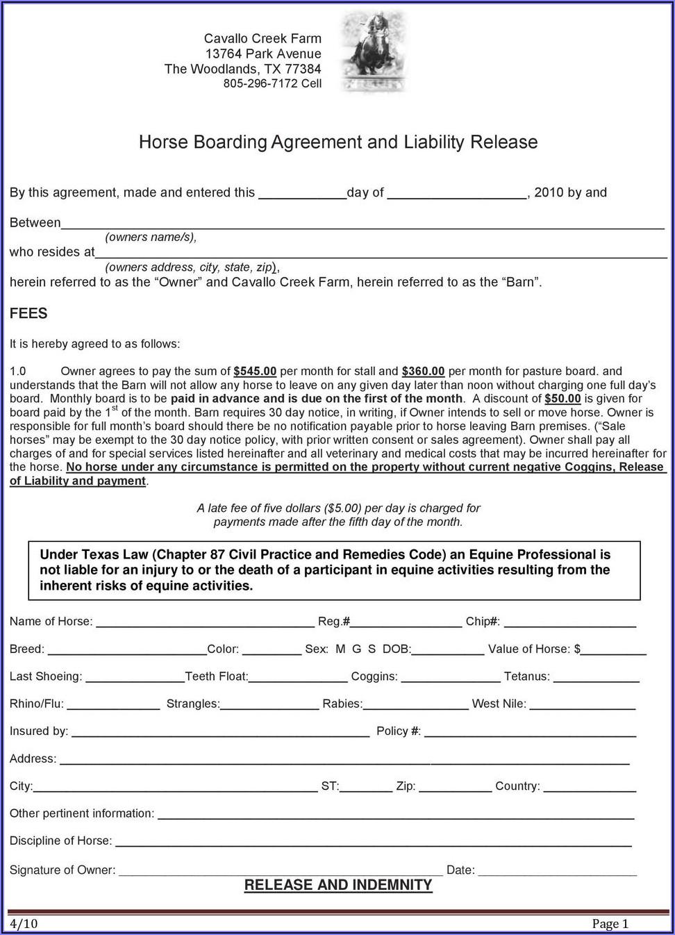 Arizona Equine Liability Release Form