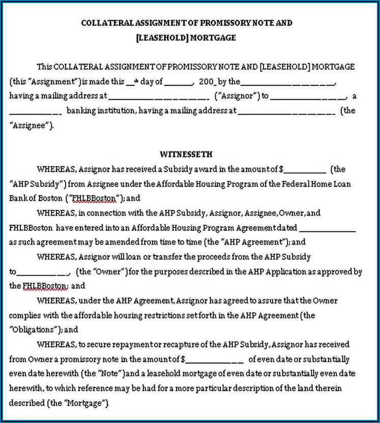 Assignment Of Promissory Note Template