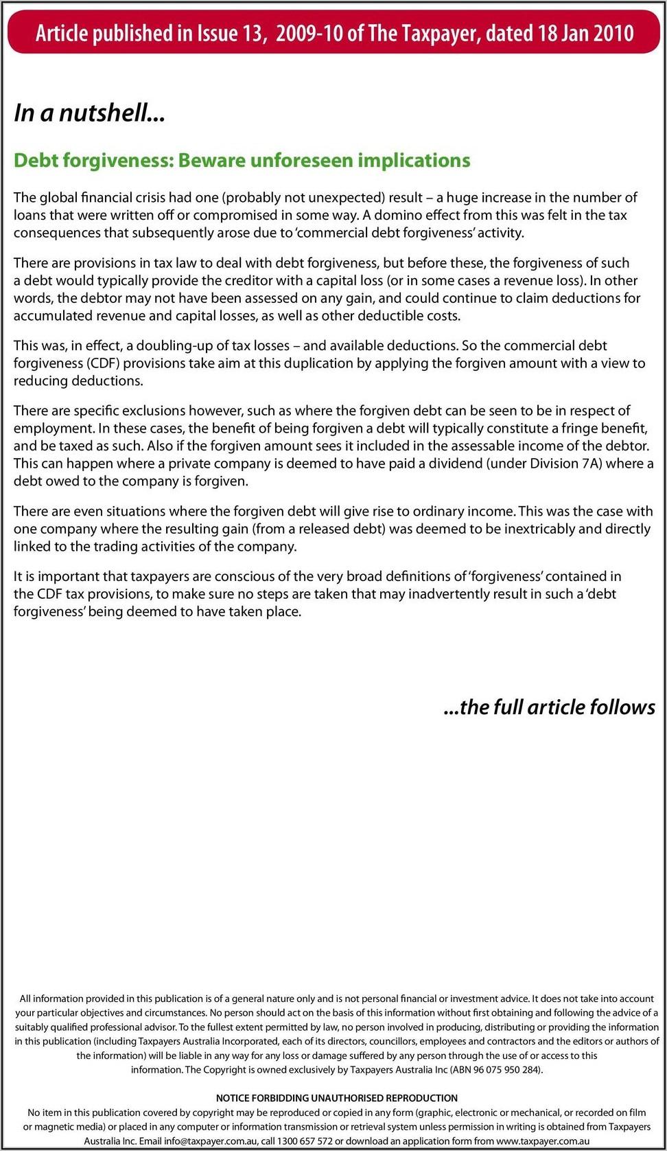 Ato Debt Forgiveness Form