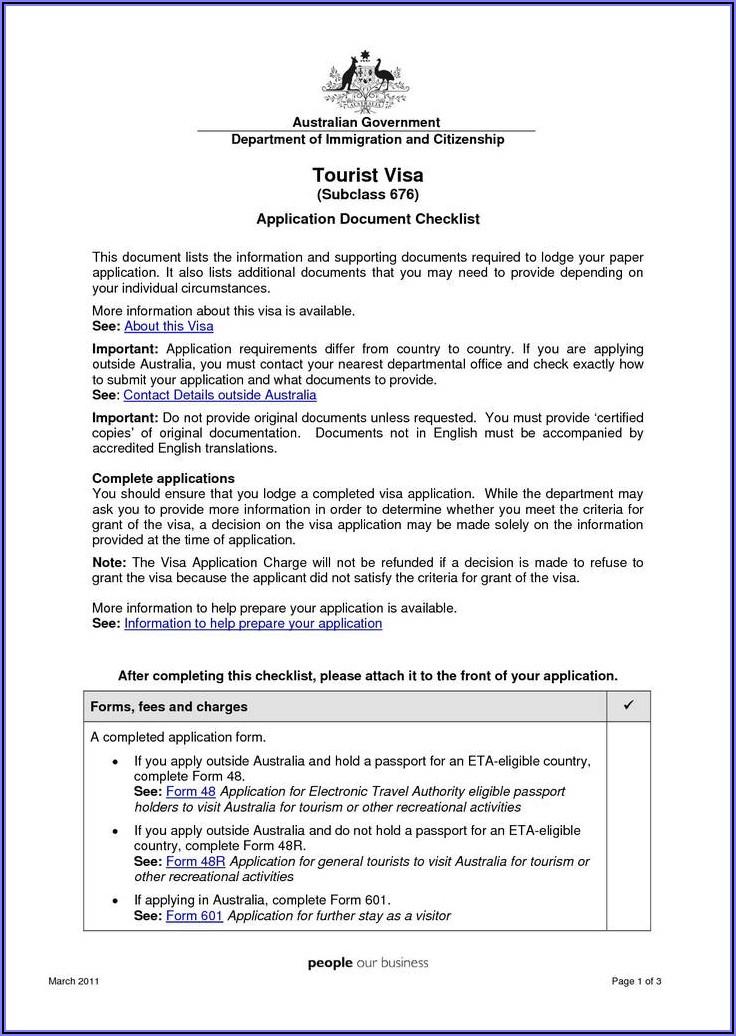 Australia Visa Application Form