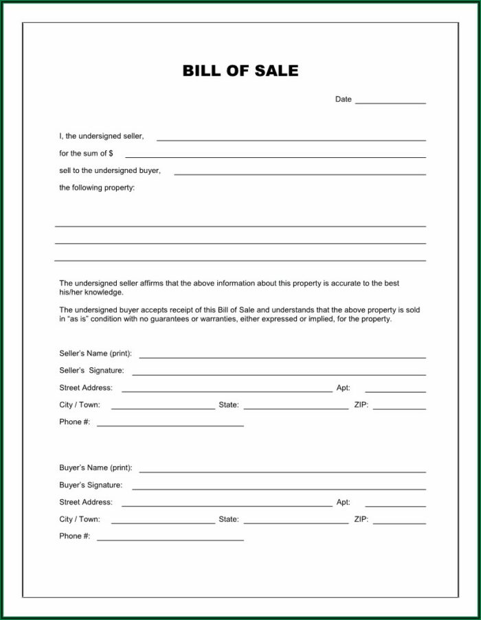 Bill Of Sale Template For Car Free