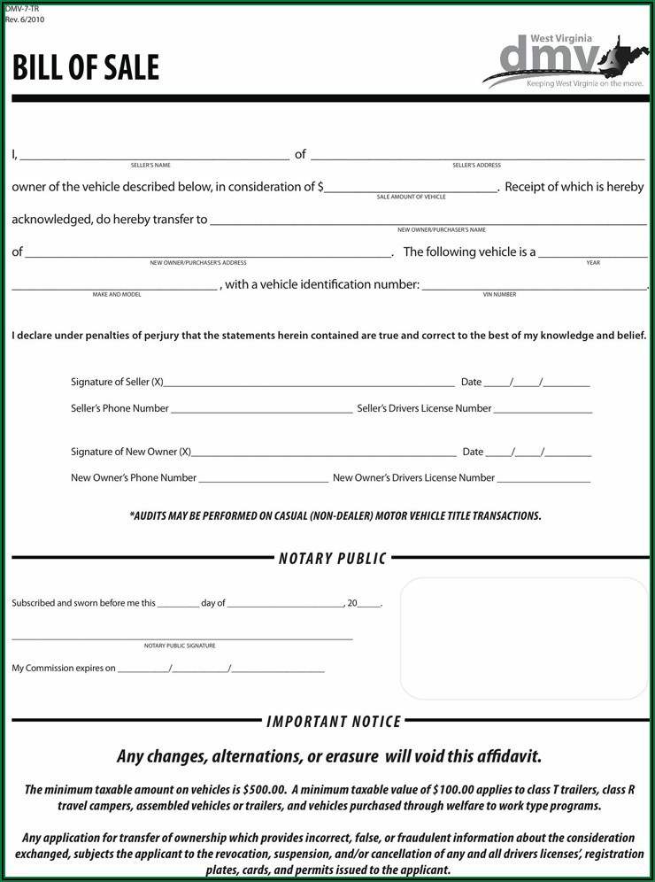 Bill Of Sale Template For Car Virginia