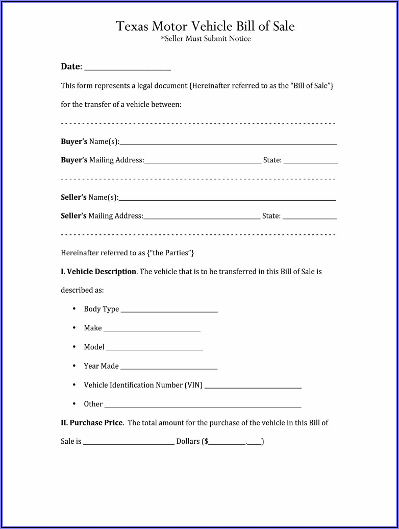 Blank Bill Of Sale Form For Car In Texas