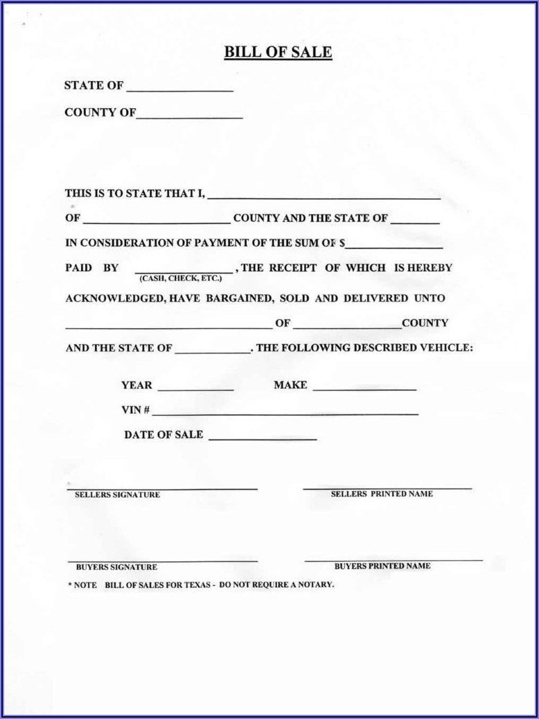 Blank Bill Of Sale Template For Car