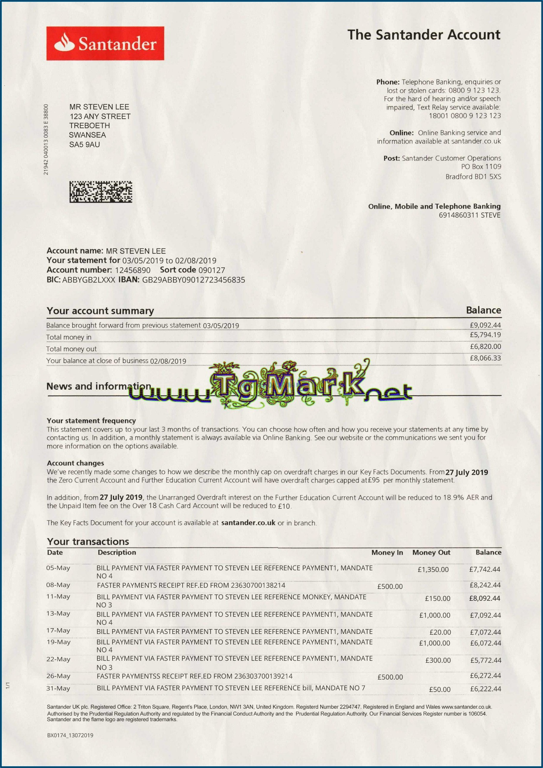 Blank Chase Bank Statement Template