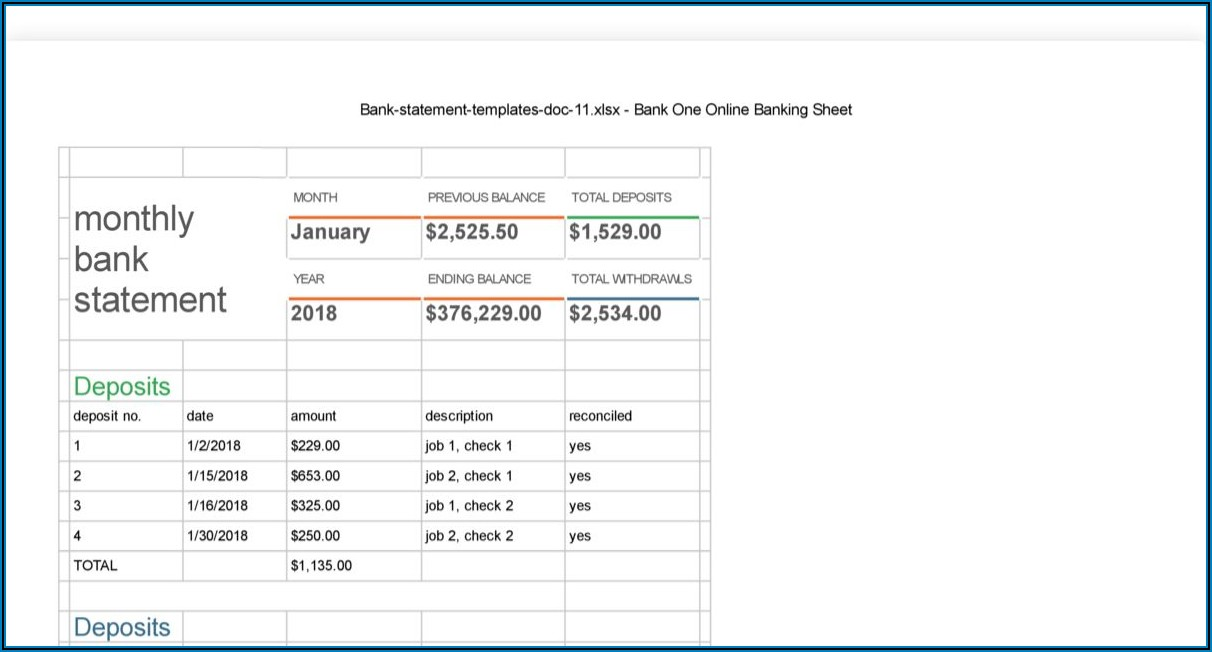 Blank Chime Bank Statement Template