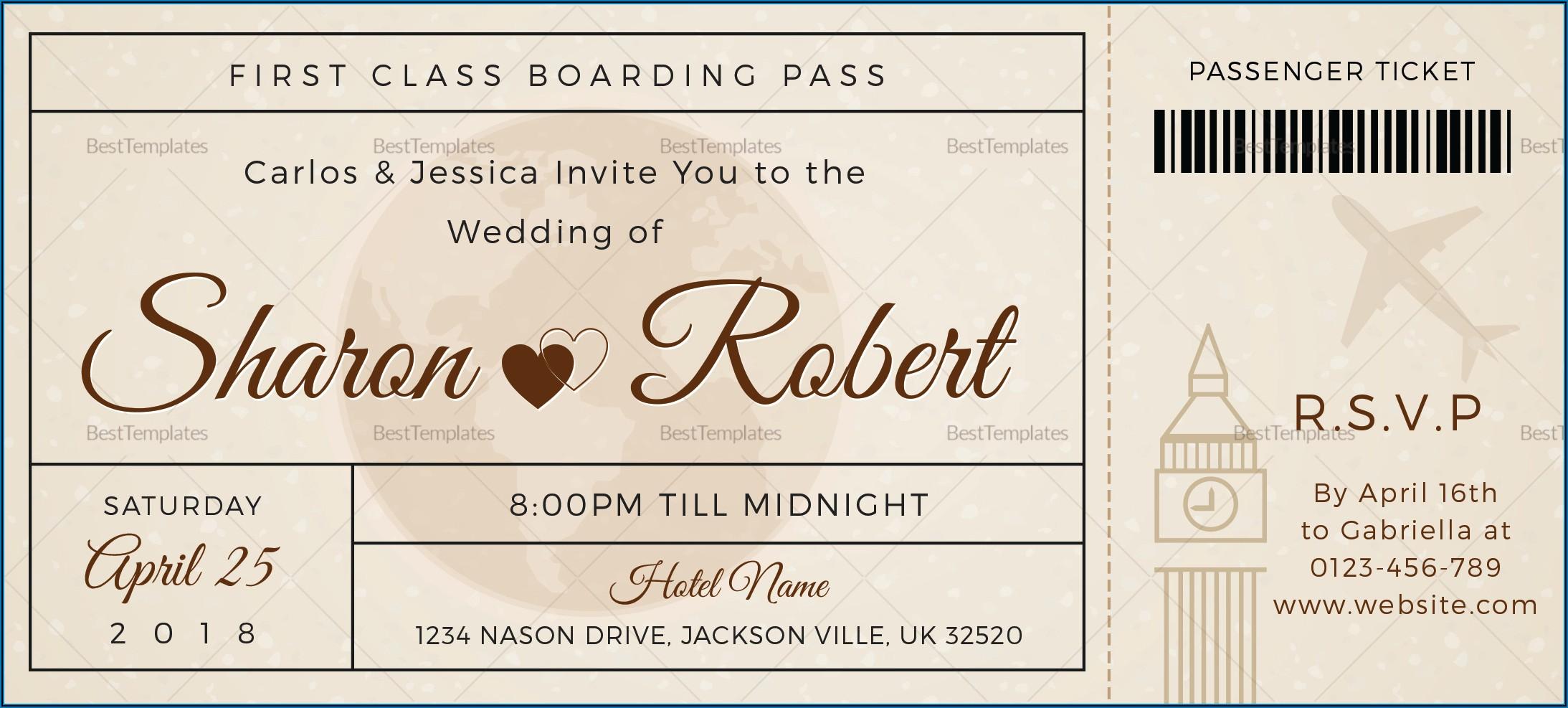 Boarding Pass Ticket Wedding Invitation Template
