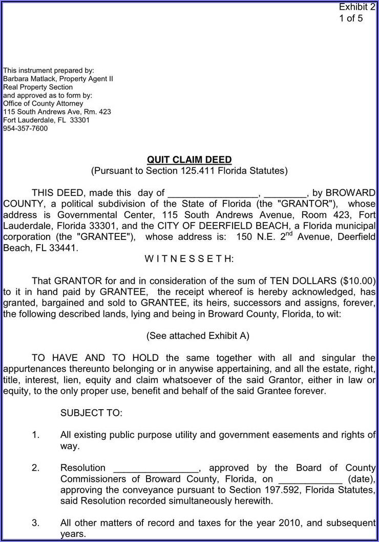 Broward County Quit Claim Deed Form Free