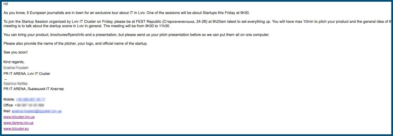 Business Meeting Invitation Email Example