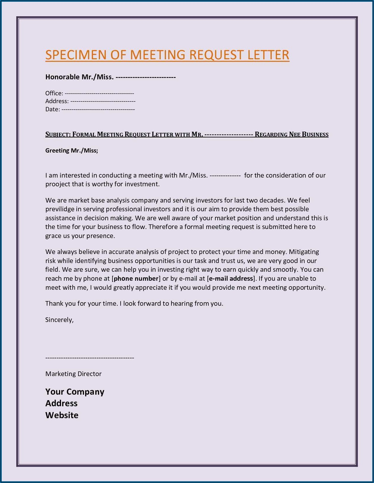 Business Meeting Request Email Sample