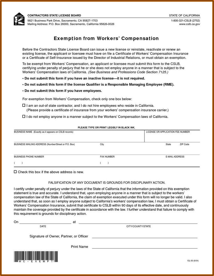 California Workers Compensation Exemption Form Pdf