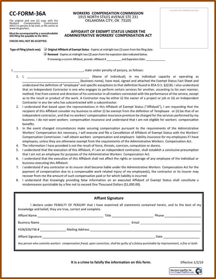 California Workers Compensation Owner Exclusion Form