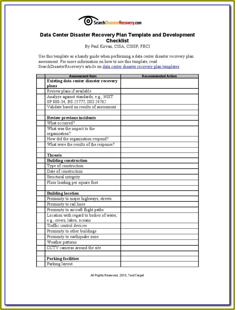 Call Center Disaster Recovery Plan Template