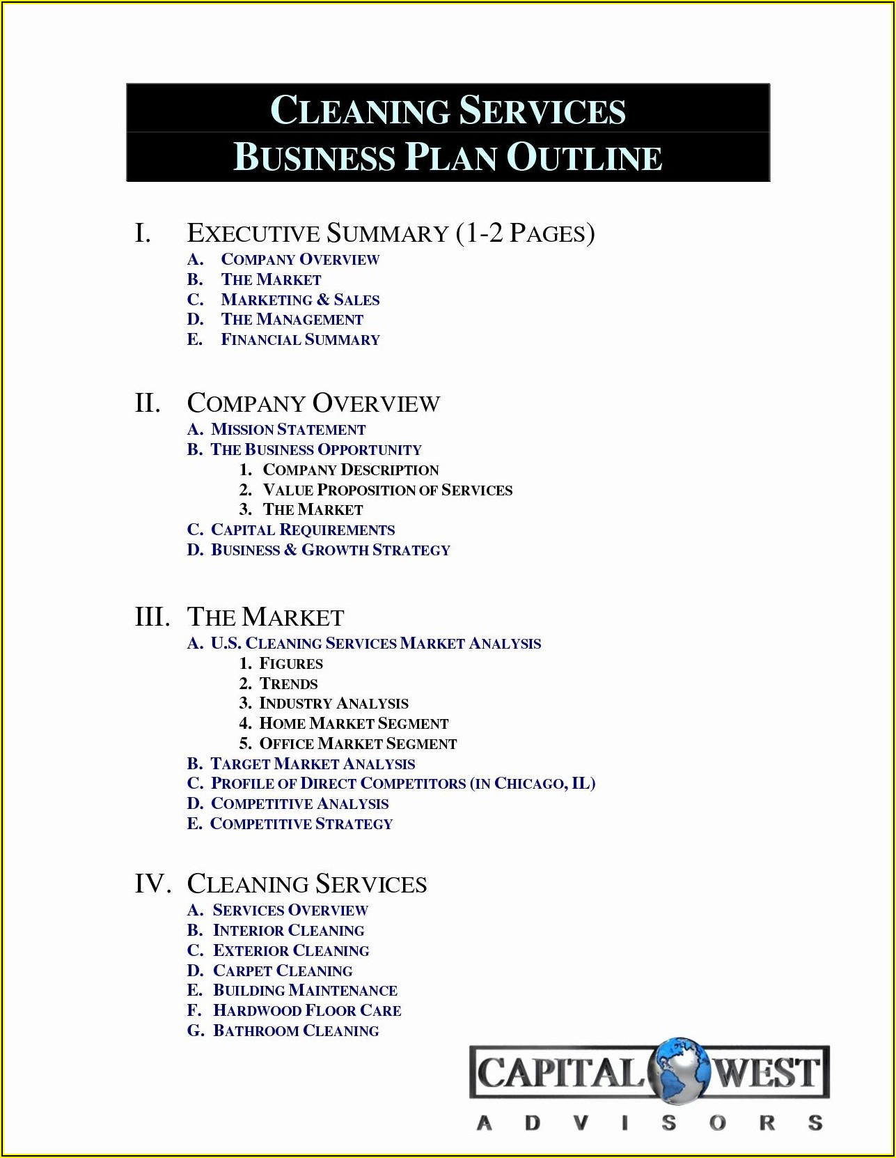 Cleaning Business Plan Template South Africa