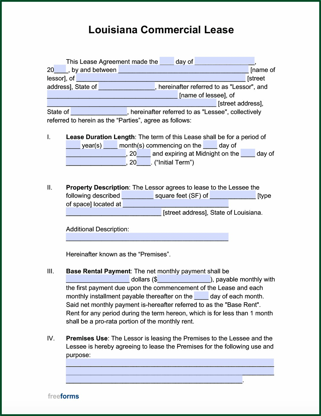Commercial Lease Template Pdf