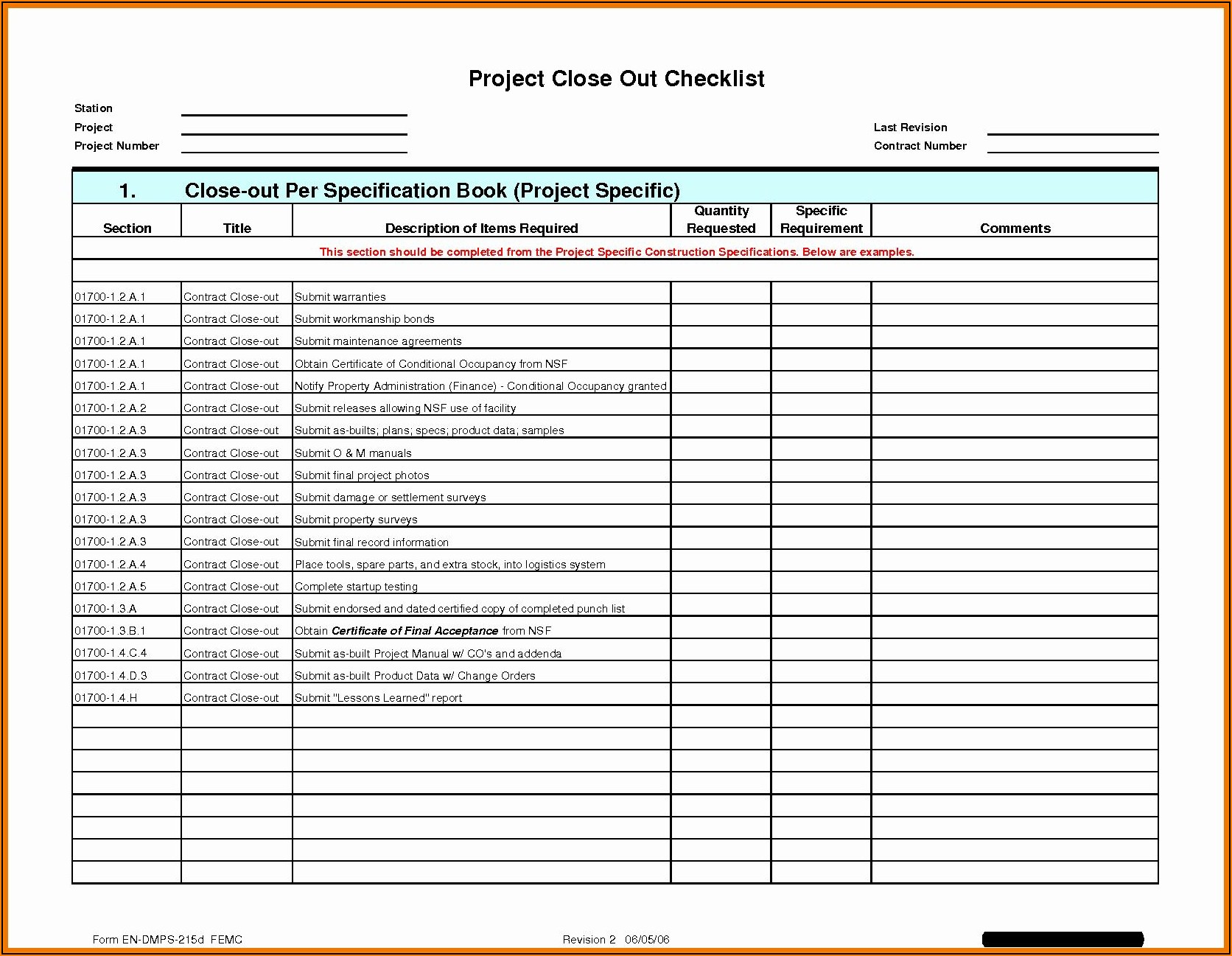 Construction Punch List Sample