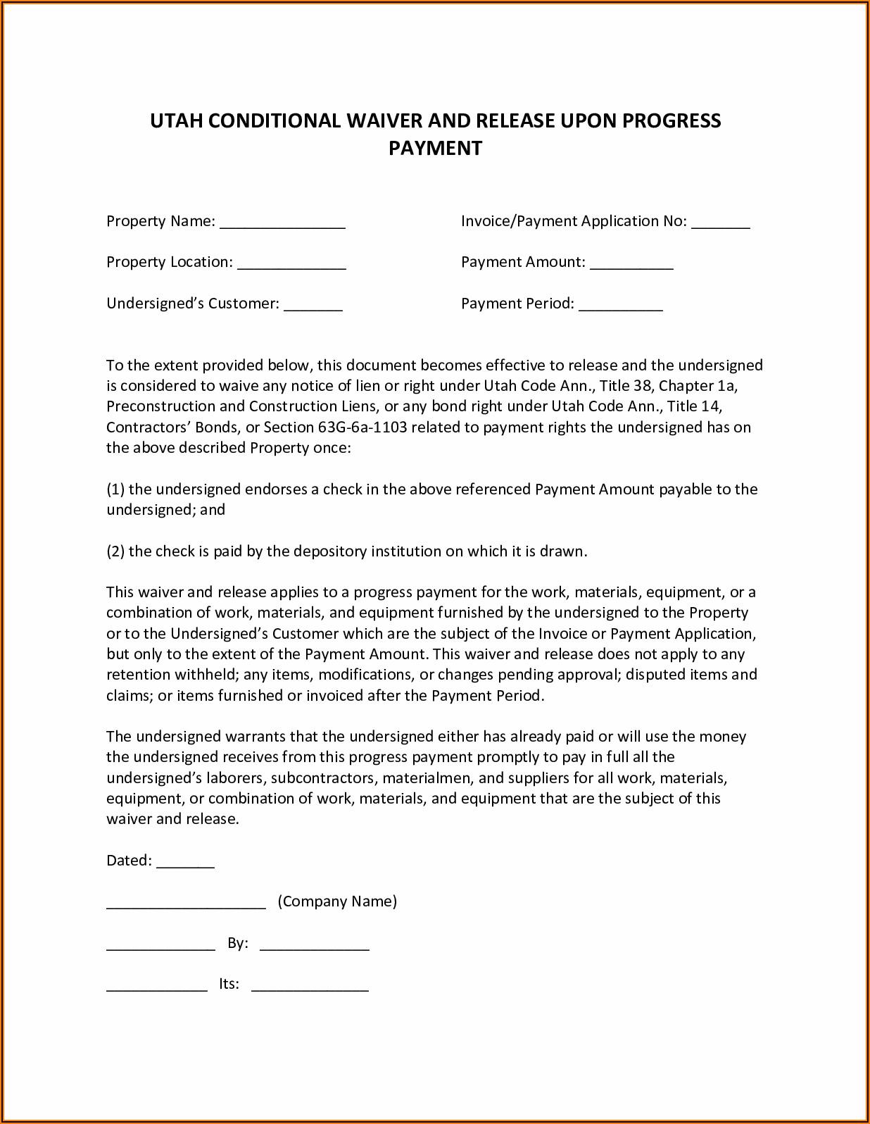Contractor Lien Release Form Utah